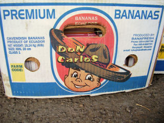 banana boxes from Ecuador